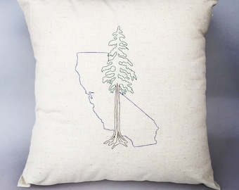 California with Redwood Pillow, embroidered in hemp and organic cotton.