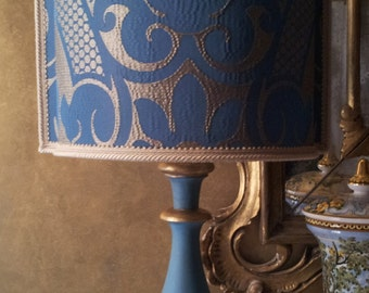 Venetian lamp shades accent pillows antique by oggettiveneziani vintage blue and gold turned wood table lamp with rubelli fabric lamp shade made in aloadofball Choice Image