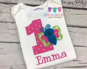 Girl 1st Birthday butterfly shirt - Baby Girl Butterfly Birthday Shirt - 1st Birthday Butterfly Shirt - 1st Birthday Outfit - Any Age