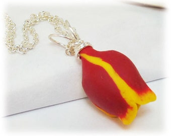 Red Tulip Necklace - Silver Gold or Antique Brass, Red Tulip Jewelry, Tulip Pendant Necklace