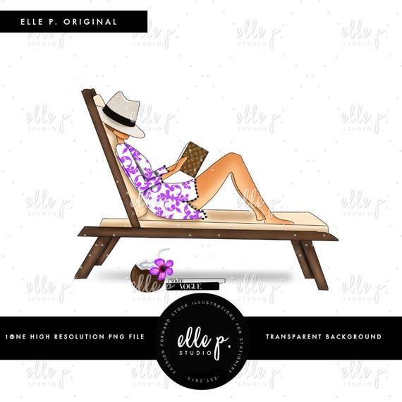 Frau im liegestuhl clipart  Liegestuhl am Pool Original Elle s. Studio Illustration Elle