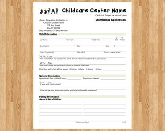 Childcare Admissions Application | Editable | Printable | PDF