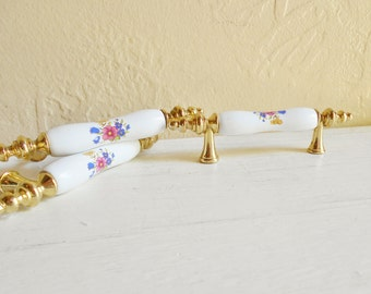 Vintage Porcelain and Gold Floral Handles Drawer Cupboard Pulls Matching - Set of 6 Glamorous Fancy Romantic Decor
