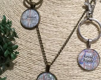 map necklace, map pendant, wedding gift, anniversary gift, map key chain, birthday gift, sentimental gift, hometown gift, graduation gift