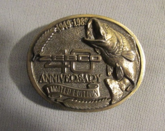 Limited Edition Zebco 40th Anniversary Solid Brass Made in USA Belt Buckle Fishing Fisherman Fly Fishing Collectible