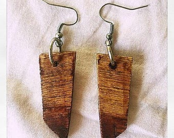 NEW Ombre Wooden Varnish-Dipped Earrings - Australian, Homemade, Hypoallergenic, Natural
