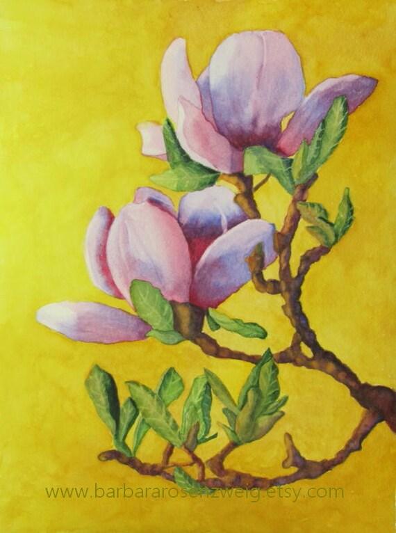 Magnolia Print Flower Painting Flower Wall Art Magnolia