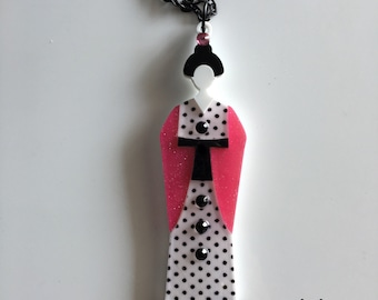 last ever!!!! Polka dots GEISHA laser cut acrylic necklace