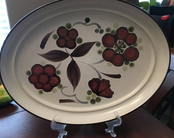 Vintage Noritake Folkstone - Orinda 8540 - Genuine Stoneware - 14 Inch Serving Platter - Made Between 1975 - 1981 - Made in Japan