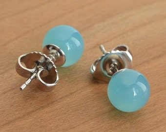 Rare Sea Blue Chalcedony stud earrings, Sea Blue Chalcedony, Gold-Filled or Sterling Silver posts and earbacks, Handmade in the USA
