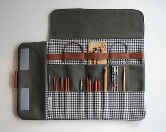 Knitting Needle case in Khaki, Interchangeable needle case, Best of Case in Khaki, Crochet case, Needle organizer