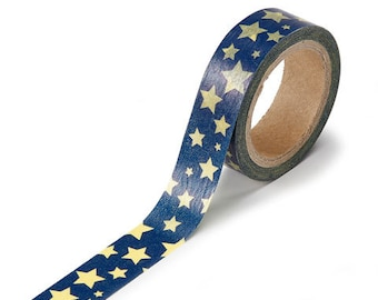 Full roll Blue with Yellow Stars washi tape 26.25 feet 1 piece