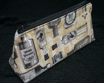 Apothecary Potions Zippered Pouch / Small Tan Makeup Bag / Pencil Case / Bag Organizer / Goth Accessory