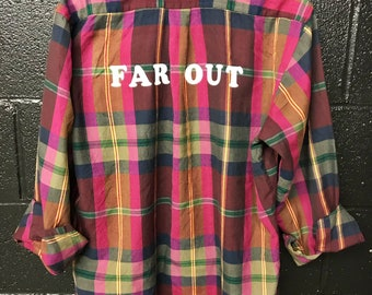 Far Out, Groovy, Up-cycled, Grunge flannel shirt
