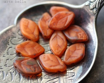 PUMPKIN LEAVES .. 10 Picasso Czech Glass Leaf Beads 12x7mm (1533-10)