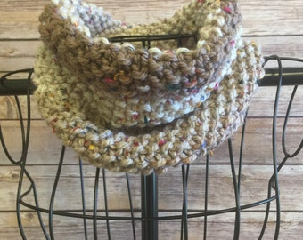 Neutral Colored Hand Knit Cowl