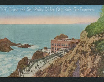San Francisco Postcard - Vintage Color Postcard of the Cliff House and Seal Rocks at the Golden Gate Park, California, USA