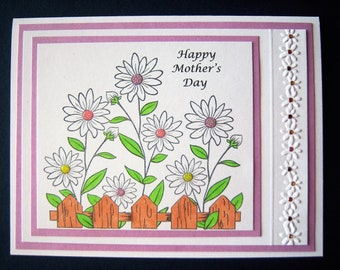 Fenced Daisies Mother's Day Card