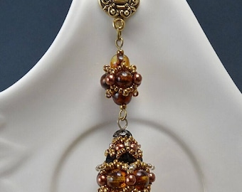 Dangle Earrings//Studs//Beaded Beads//Amber//Honey//Bronze//Pearl//Free Shipping