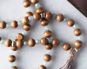Wood and Glass Tassel Necklace / Long Mala Necklace / Dark wood beads / Natural Beads / Boho Style / Casual Jewelry / Friend gift