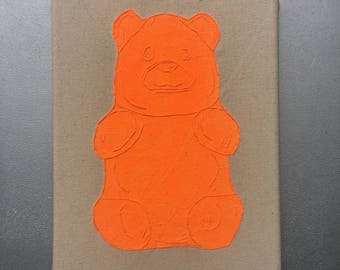 Orange Gummy Bear - hand drawn, painted and embroidered wall hanging