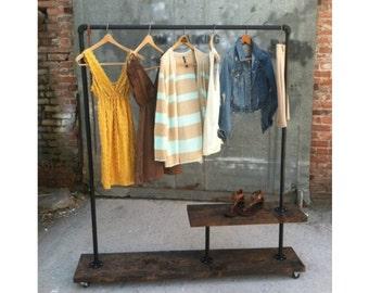 90H - Half Shelf Clothing Rack - Pipe Furniture - Industrial Clothes Rack - Garment Rack - Retail Display