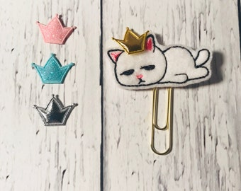 Lazy cat paper clip, planner clip, tired cat paperclip, planner paperclip, planner accessory, cat bookmark