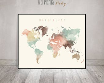 Wanderlust, World map print, World map poster, World map art, World map wall art, watercolor travel Map, Large world map, ArtPrintsVicky