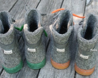 Felted Boots Women boots Gray Orange Winter boots Outdoor boots Narrow/ Medium Feet US 6,5 US 8,5
