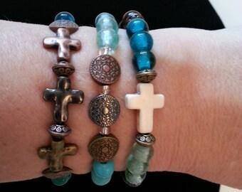 Bronze Crosses Aqua Glass and Wood Beads Stretch Stack Bracelet