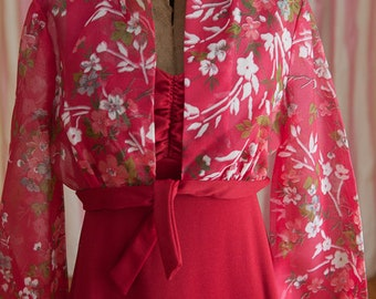 Vintage Gown - Bridesmaid Prom 70s Floral Halter Jacket Red