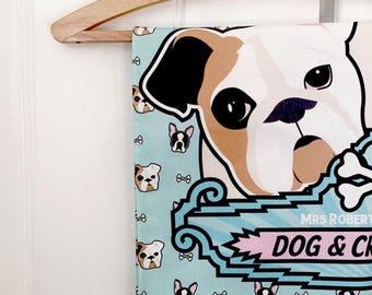 Dog and crossbones Tea Towel - Kitchen textiles - made in the uk