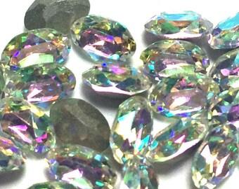 Swarovski 6x4 Oval Rhinestones Crystal AB Art # 4120 Qty 6 For Crystal Clay