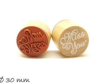"1 piece stamp ""Miss You"" rubber stamp Ø 30 mm round"