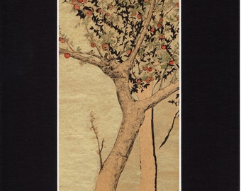 Pommiers / Apple trees - 200 mm x 300 mm - Golden background
