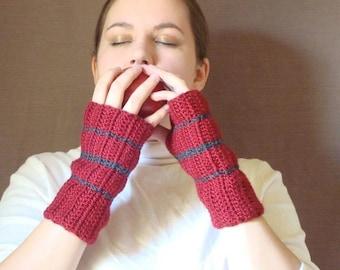 Charcoal Grey and Dark Red Fingerless Gloves for Men or Women - Striped Fingerless Gloves - Stripe Crochet Fingerless Gloves MADE TO ORDER