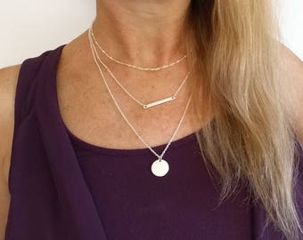 Monogram Silver Layering Necklace Layered Necklace Skinny Bar Stacking Necklace Stacked Necklace Layer Necklace Multi Strand Necklace Bar 26