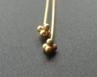 24 pcs, 23 gauge, 46mm, 2 Inches, Handmade Gold VermeilSterling Silver 4 balls headpin, Bali Artisan
