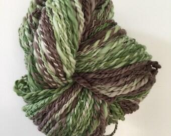 Hand Spun Merino Wool Yarn Green and Brown 122 yds 3.4 oz