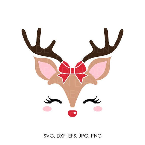 Reindeer SVG Head Svg Clip Art Face Christmas Cricut Silhouette Cut File From Onedersvg On Etsy
