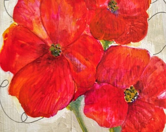 Acrylic Poppy Art, Canvas Acrylic Art, Original Acrylic Painting, Canvas Art, Red Painting, Wall Art, Contemporary,  Home decor