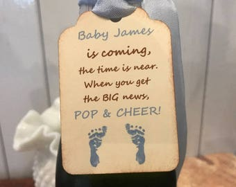 Baby Shower Champagne Bottle Tag, Wine Bottle Tag, Boy Girl Neutral Baby Shower Favor Tag, Baby is Coming,Personalized Baby Shower Tag