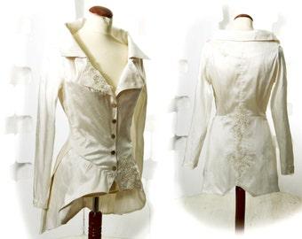 Silk Jacket Handmade couture Fashion wedding Ivory white Black
