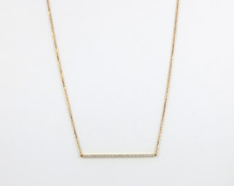 18k Yellow Gold Diamond Pave Bar Necklace