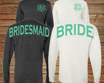 Monogram Bridesmaid Long Sleeve Shirts Personalized Bridal Party Shirts Bachelorette Party (BR029)