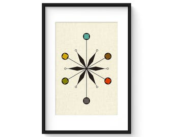 STAR - Mid Century Modern Danish Modern Abstract Eames Curtis Jere Style Print