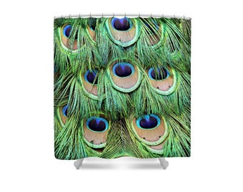Peacock Shower Curtain, Feather Shower  Curtain, Peacock Feathers, Peacock Decor, Colorful Shower Curtain, Blue Green Shower Curtain