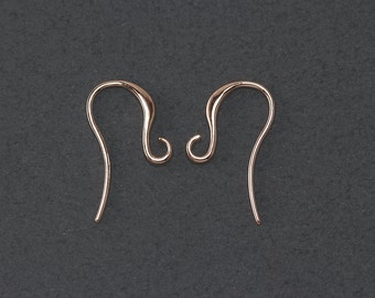 Hook Earring . Earring Component . 16K Polished Gold Plated over Brass  / 8 Pcs - NC006-RG