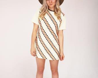 60s Twiggy Dress - Creme, Print, Polyester, Vintage, Mini Dress, Hipster, Boho