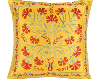 Silk hand embroidered suzani pillow (50cm x 50cm)( 20 x 20 inches)